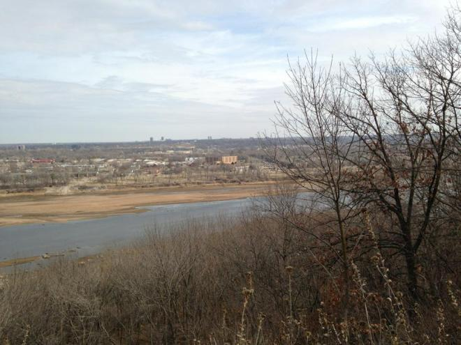 A view across the Arkansas River, looking into south Tulsa, from Turkey Mountain's Ho Chi trail.