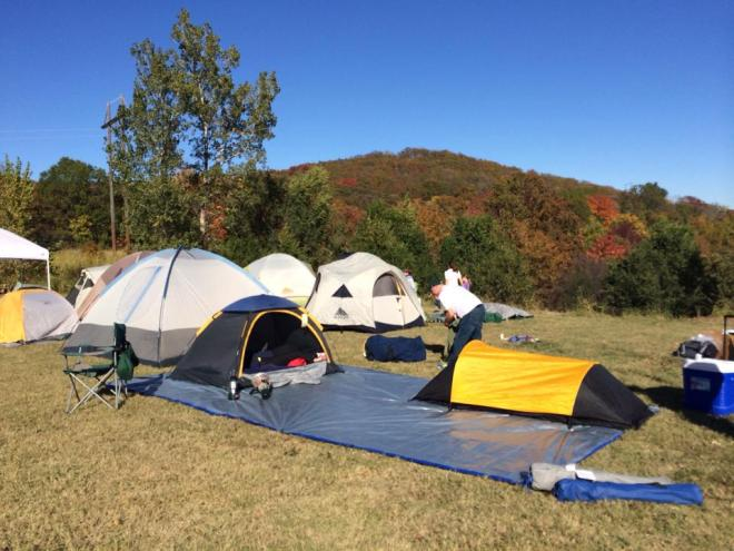 Setting up tents at the Tulsa Campout on Turkey Mountain. I gotta do this next year. But this year, training comes first. (Ken TZ Childress photo)