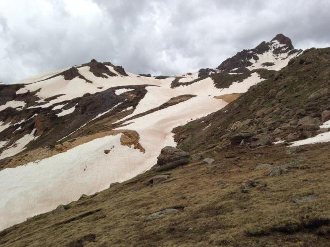 These were the snow slopes we glissaded down. Pure fun!