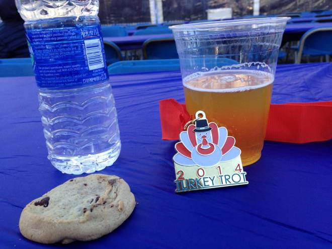 Post-race goodies at the Turkey Trot. Cookies and beer is a weird combo, but I consumed it all anyway.